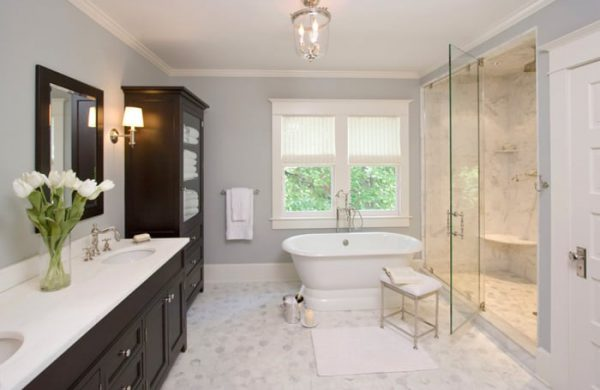 white bathroom remodeling contractors Skokie